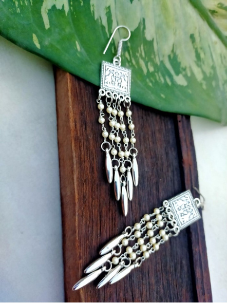 Handcrafted Designer German Silver Square Frame Dangler Earring with Pearl Chain and Silver Drop-LAAER270