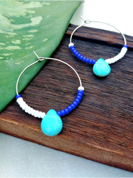 Handcrafted Pretty Turquoise Drop Bali with White and Blue Seed Bead-LAAER280