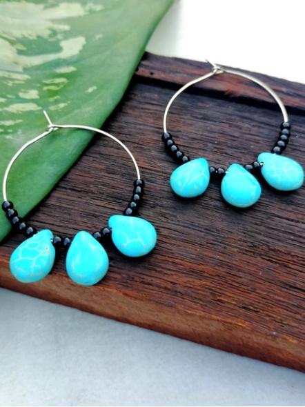 Handmade Pretty Triplet Turquoise Drop Bali with Black Seed Bead-LAAER277