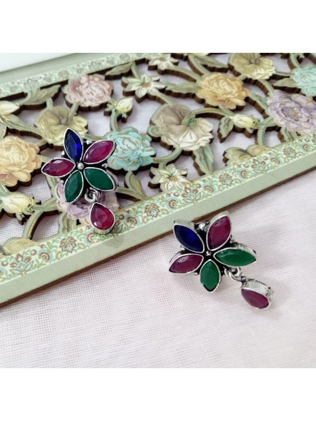 Handcrafted German Silver Multicolored Stone Inlaid Floral Stud with Stone drop-LAAER212