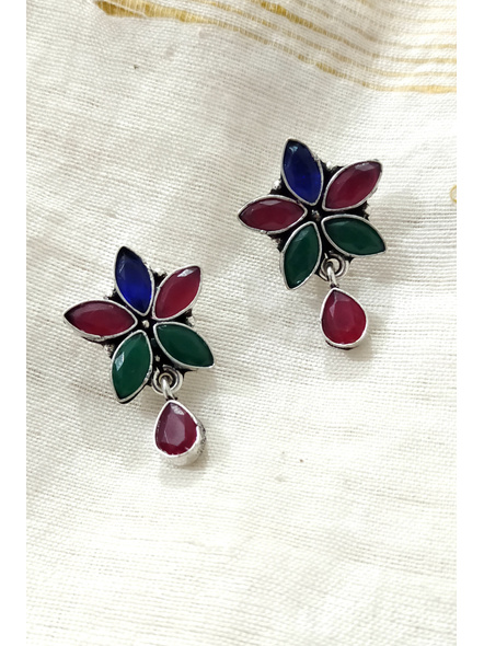 Handcrafted German Silver Multicolored Stone Inlaid Floral Stud with Stone drop-1