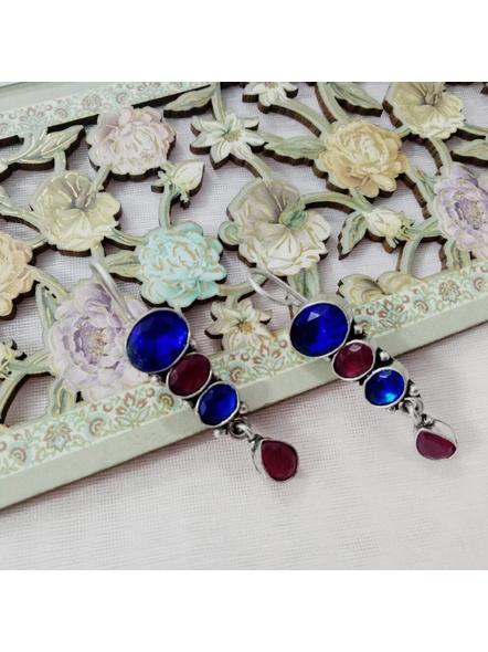Handcrafted Designer Blue Maroon Bead Earring-LAAER214