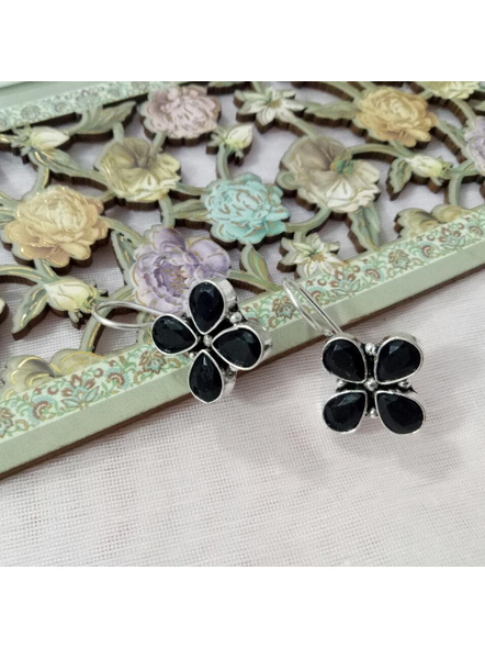 Handcrafted German Silver black stone inlaid Floral Dangler-LAAER211