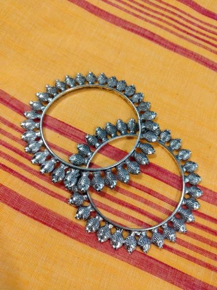 Designer German Silver Round Fish Bangle - Set of 2-2