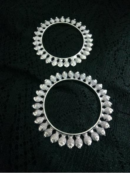 Designer German Silver Round Fish Bangle - Set of 2-3
