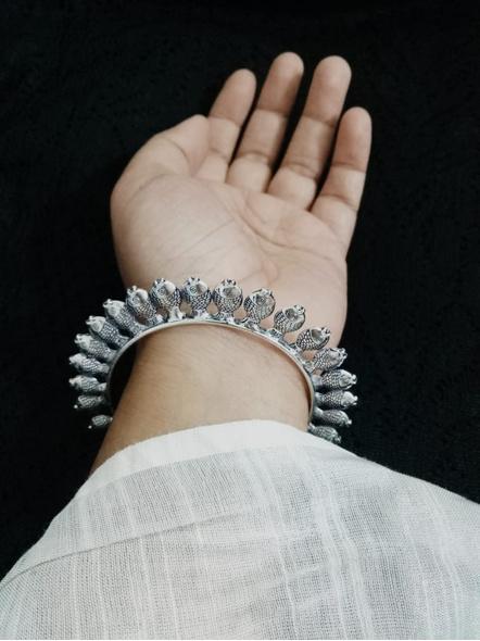 Designer German Silver Round Fish Bangle - Set of 2-1