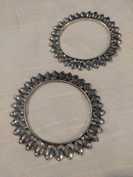 Designer German Silver Round Fish Bangle - Set of 2-4