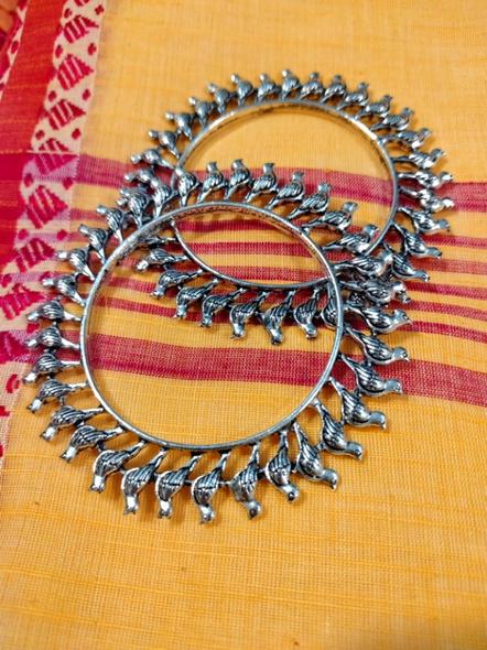 Designer German Silver Round Bird Bangle - Set of 2-2