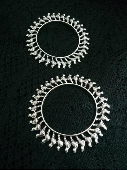Designer German Silver Round Bird Bangle - Set of 2-4