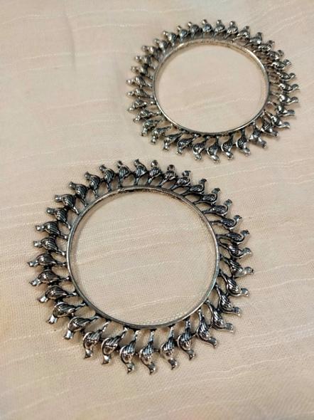 Designer German Silver Round Bird Bangle - Set of 2-3
