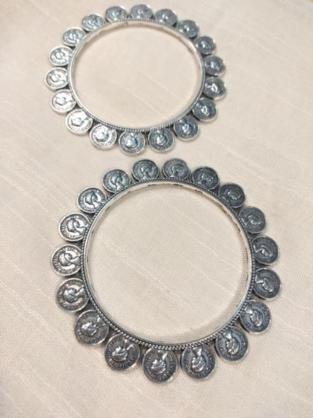 Designer German Silver Round Elizabethan Coin Bangle - Set of 2-3