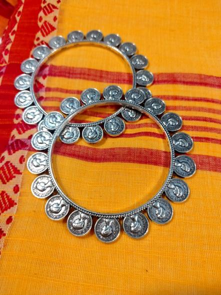 Designer German Silver Round Elizabethan Coin Bangle - Set of 2-2