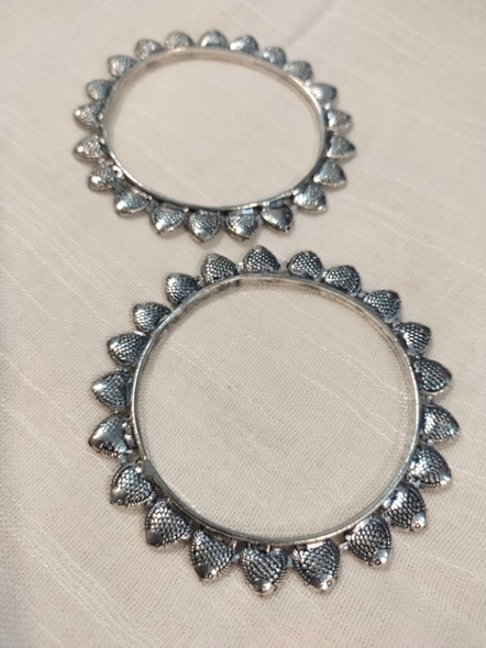 Designer German Silver Fish Bangle - Set of 2-6