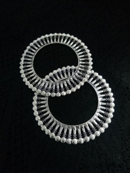 Designer German Silver Round Bangle - Set of 2-4