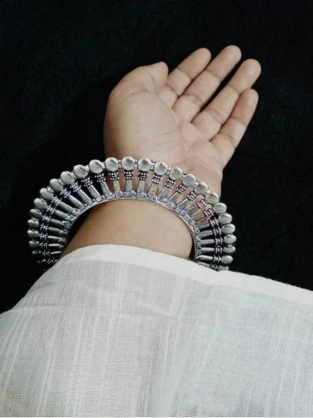 Designer German Silver Round Bangle - Set of 2-1