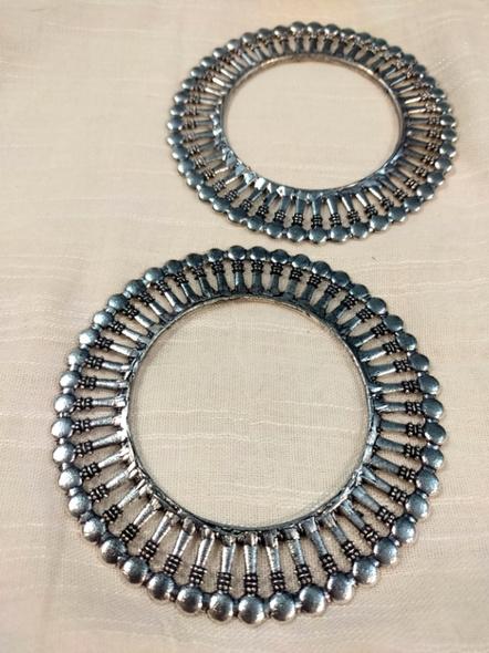 Designer German Silver Round Bangle - Set of 2-3