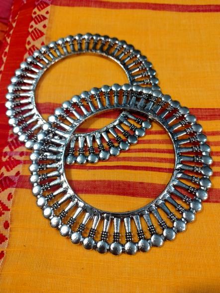 Designer German Silver Round Bangle - Set of 2-2