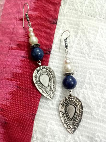Designer Semi Precious Fresh water Pearl Lapis Drop Earring-LAAER019