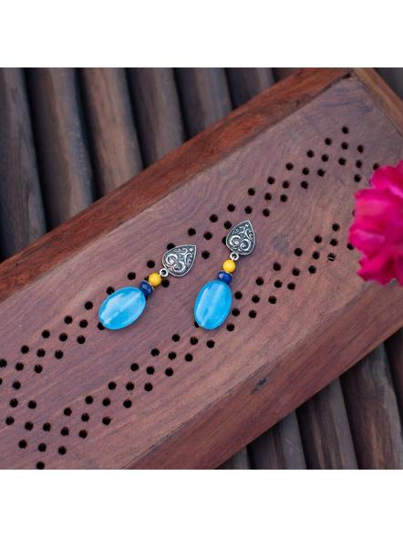 Designer German Silver Drop Stud Dangler with Yellow Jade Blue Onyx and Agate Earring-LAAER288