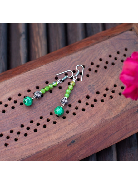 Semi Precious Emerald Green Malachite Hook Earring with green Onyx and German Silver Bead-LAAER289