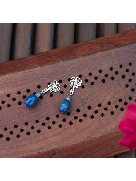 Designer German Silver Tree stud Earring with Semi Precious Jade Rose Quartz and Onyx Bead-LAAER286