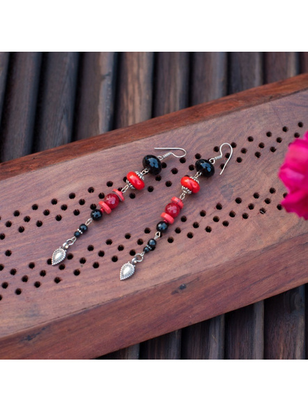 Designer classic Red and Black Long Earring with German Silver Drop charm Earring-LAAER303
