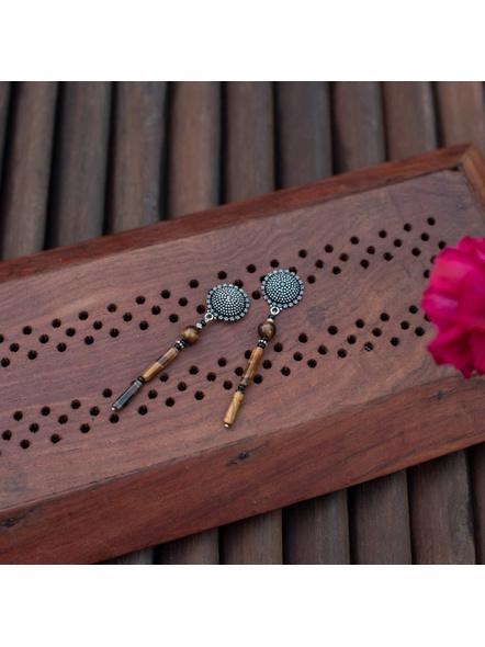 Designer Floral Circular stud with semi Precious Tiger Eye Pipe beads Earring-LAAER304