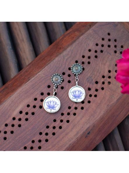 Designer German Silver Floral Stud with Miniature Purple Lotus Circular Frame Earring-LAAER305
