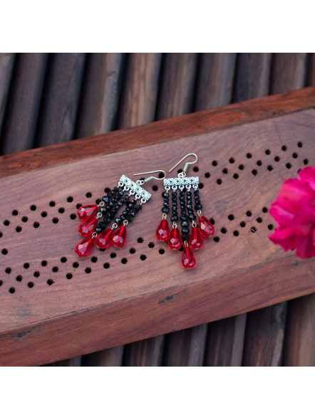 Designer German Silver frame with Red and Black crystal Drop Earring-LAAER308