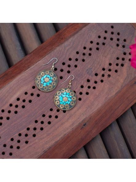 Designer Turquoise chip engraved Tibetan Dangler Earring-LAAER309