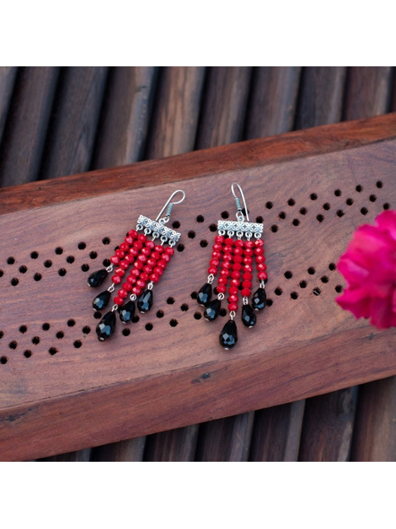 Classic Red and Black Drop Crystal Dangler Earring-2