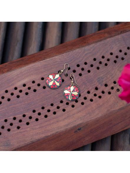 Cute Red Golden Tibetan Earring-LAAER310