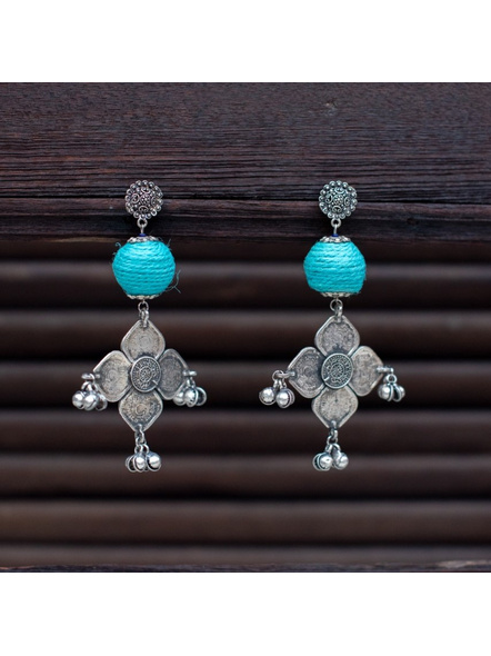 Designer Floral Stud Dangler with Turquoise jute bead German Silver Coin Charm with Ghungroo-LAAER312