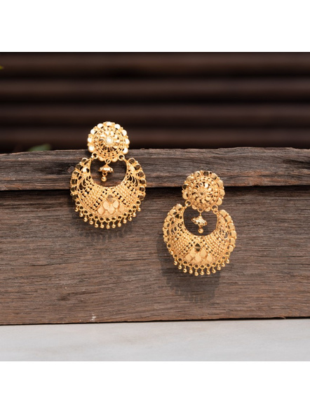Gold Polished Designer Chandbali Earring-LAAER301