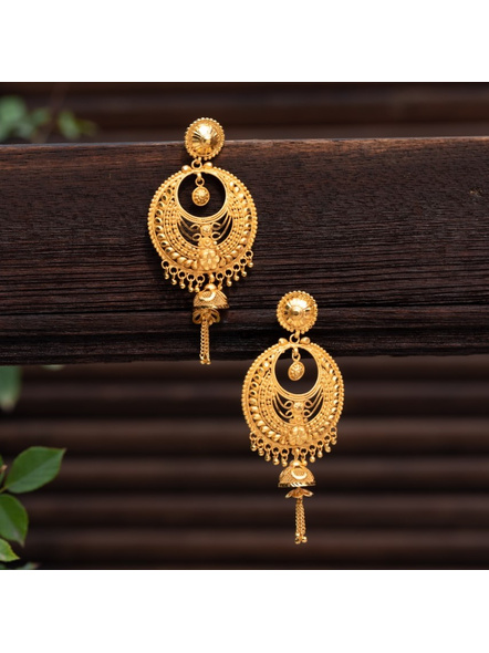 Designer Gold Polished Round Stud Chandbali with Chain Earring-LAAER314