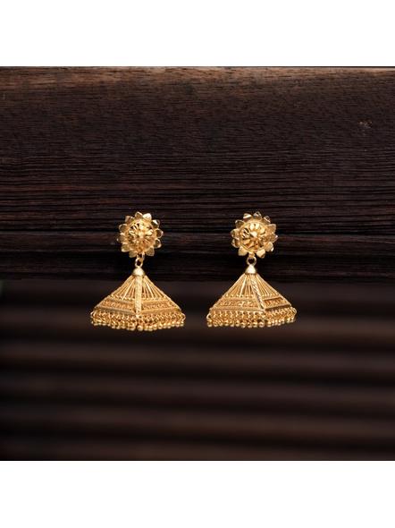 Gold Polished Designer Floral stud Triangular Jhumka Earring-LAAER315