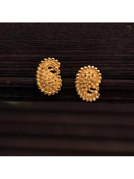 Designer Gold Polished Paisley Stud Earring-Gold-Copper-Adult-Female-7CM-1