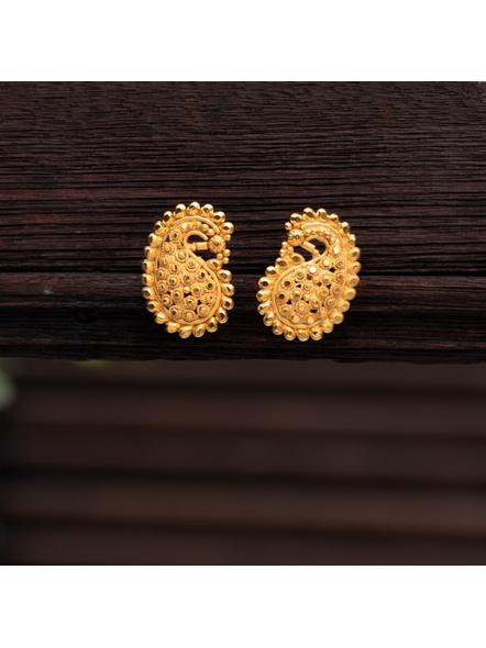 Designer Gold Polished Paisley Stud Earring-LAAER316