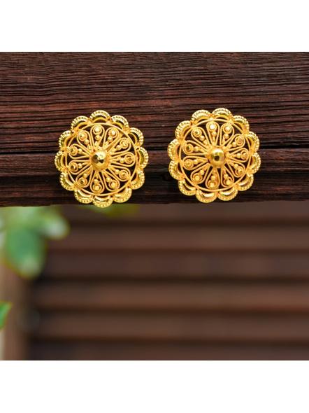 Designer Gold Polished Floral Stud Kanpasha Earring-LAAER317