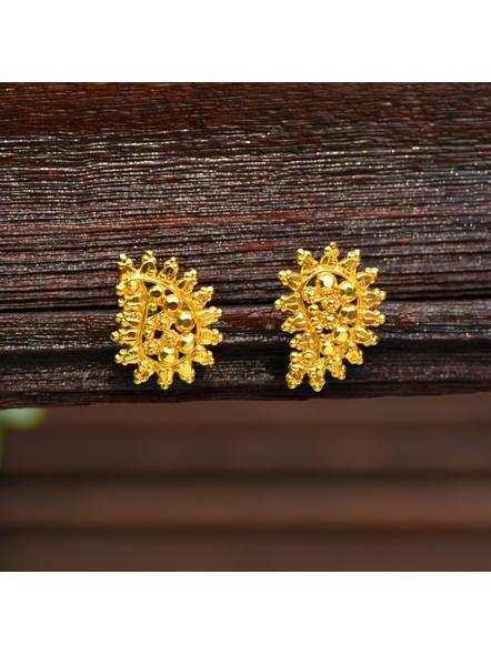 Designer Gold Polished Leaf Stud Earring-Gold-Copper-Adult-Female-9CM-1