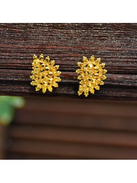 Designer Gold Polished Leaf Stud Earring-LAAER318