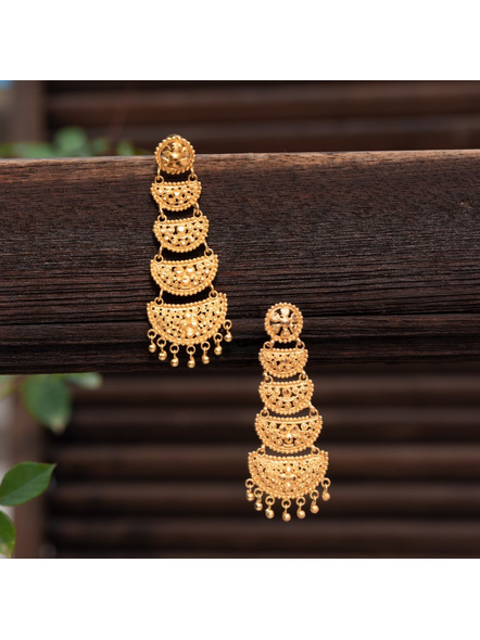 Designer Gold Polished Round Stud Four Layer Earring-LAAER319