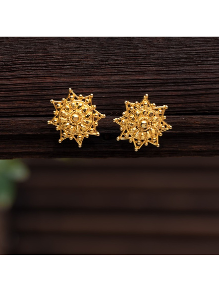 Gold Polished designer Star Pasha Stud Earring-LAAER321