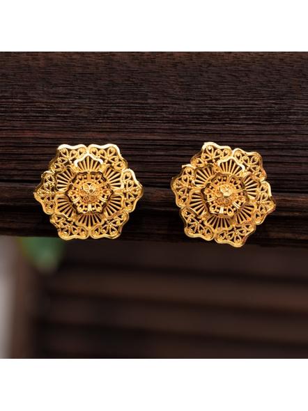 Gold Polished Floral Designer Stud Earring-LAAER322