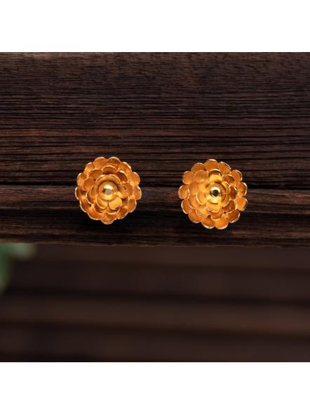 Gold Polished Designer Marigold Stud Earring-LAAER323