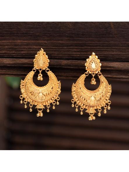 Gold Polished Drop Stud Designer Chandbali with small Jhumka-LAAER324