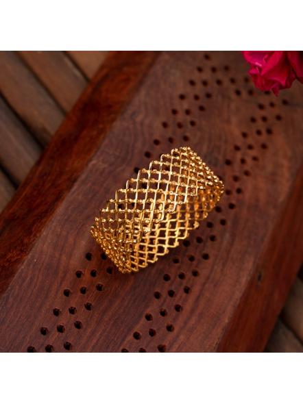 "Gold plated Designer Jaali Bangle (1 Piece)-Gold-Copper-Adult-Female-2.5""-2"