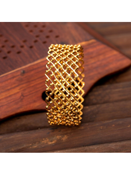 "Gold plated Designer Jaali Bangle (1 Piece)-Gold-Copper-Adult-Female-2.5""-1"