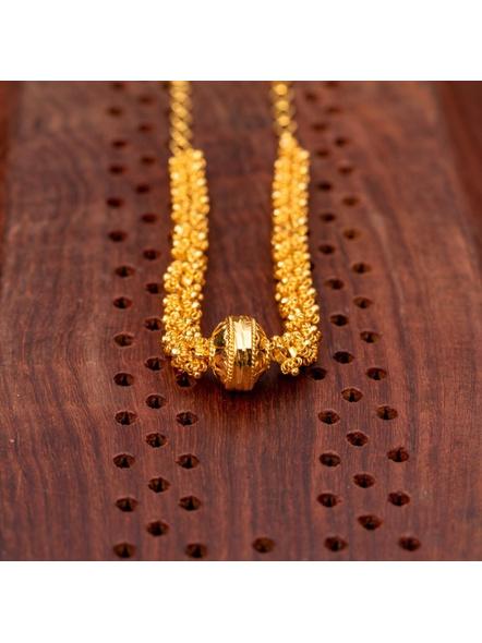Gold plated Designer Focal bead Choker-Gold-Copper-Adult-Female-40CM-2