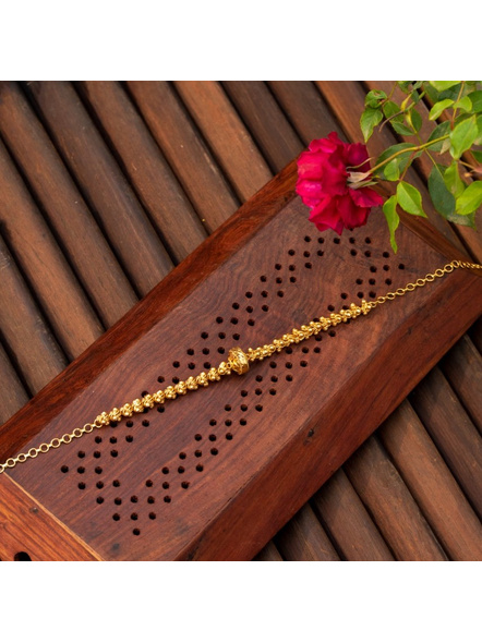 Gold plated Designer Focal Bead Choker with adjustable chain-Gold-Copper-Adult-Female-44CM-2